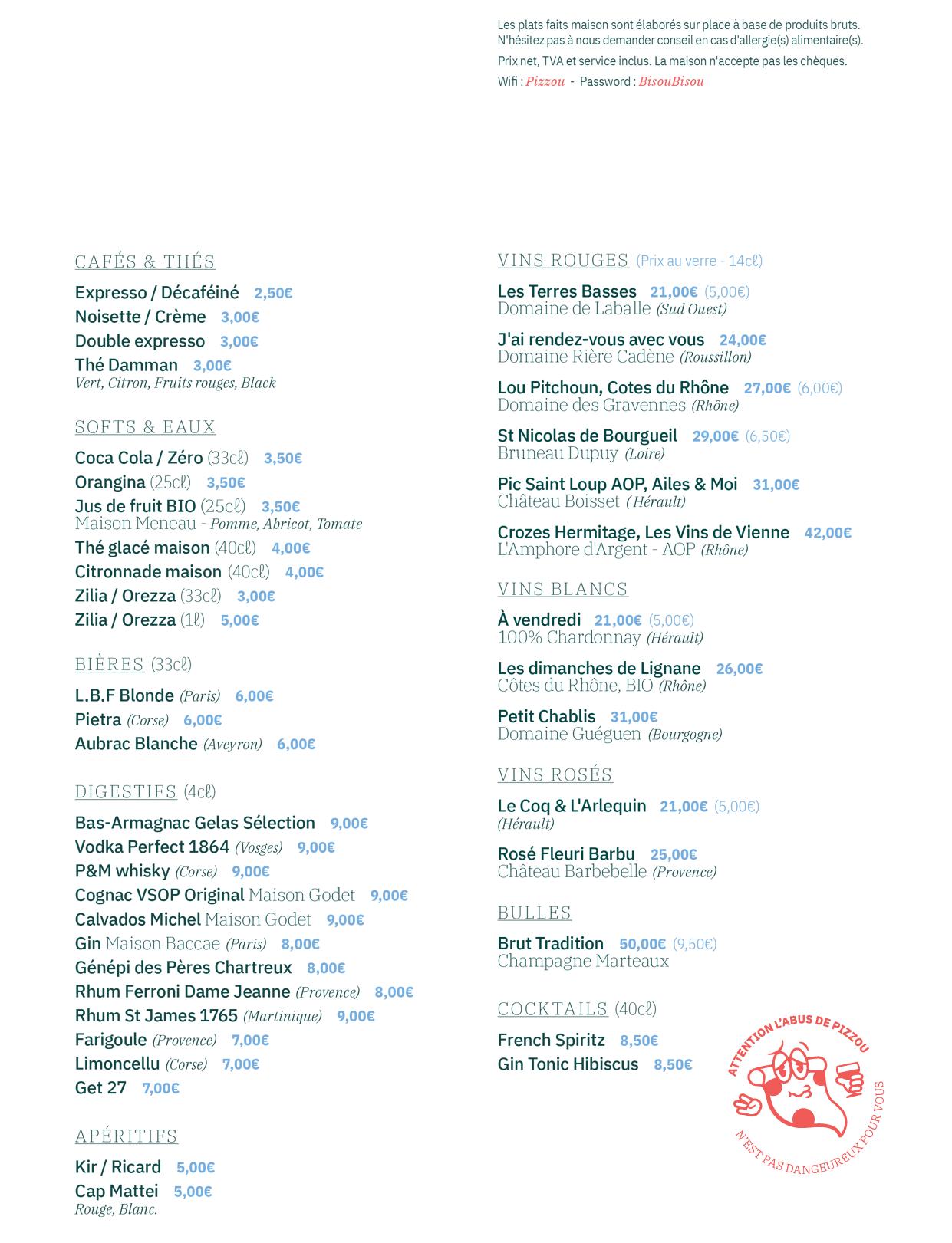 La carte de notre pizzeria à Paris 9eme